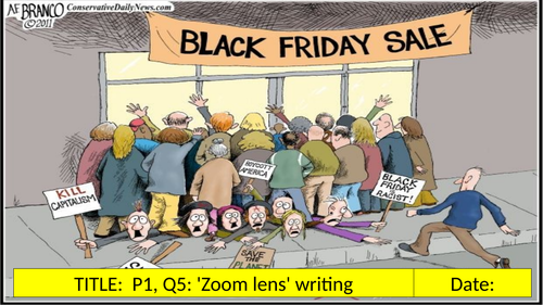 AQA: P1, Q5: 'Zoom Lens' Writing: Black Friday (Includes free 'YouTube storyboard' task!)