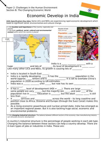 India Case Study - Workbook / Revision - Changing Economic World - AQA GCSE Geography
