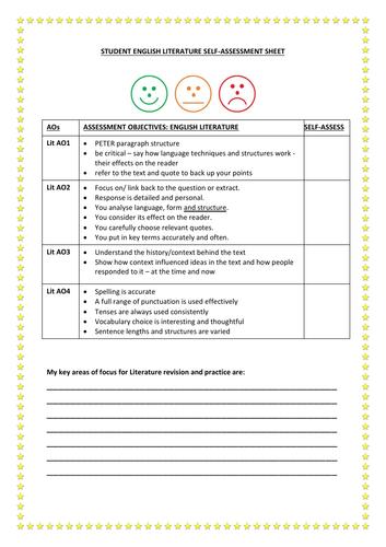 Student AO Self Assessment Sheet