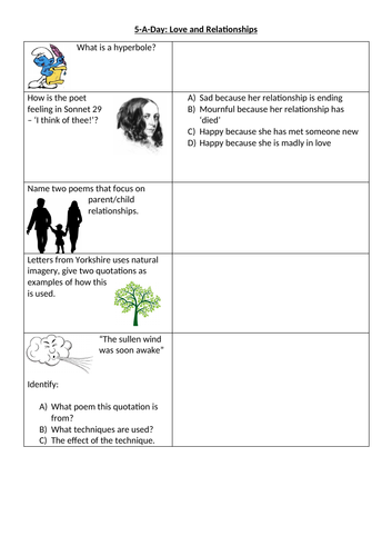 AQA Love and Relationships Poetry - Collection of 5-A-Day Worksheets