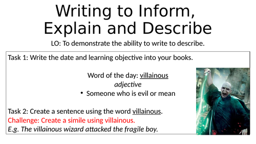 Year 7 Descriptive Writing Harry Potter