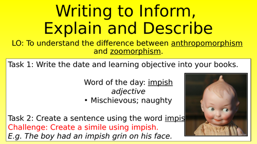 Anthropomorphism and Zoomorphism Lesson
