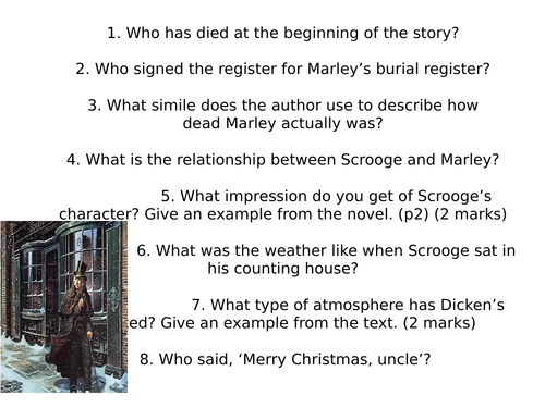 A Christmas Carol Comprehension Questions | Teaching Resources