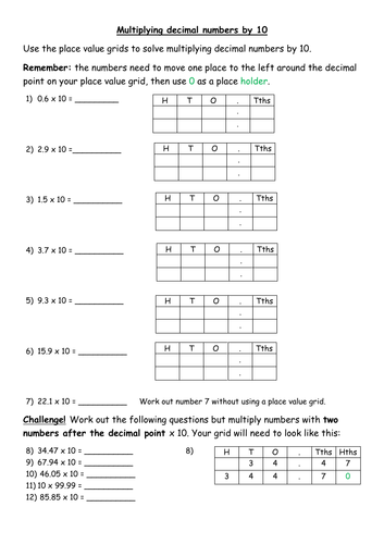 Multiplying decimals by 10 differentiated worksheets