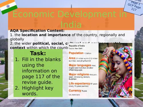 India Case Study - Workbook / PPT - Changing Economic World - AQA GCSE Geography