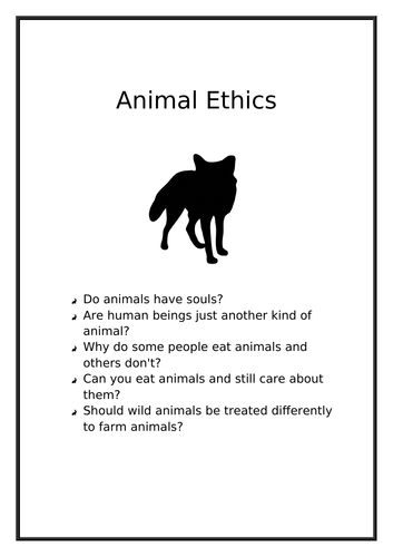 Animal Ethics booklet for S1-2 (Scotland) or Key Stage 3