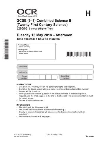 GCSE - OCR 21st Century Biology Paper (QUESTION/MARK SCHEME)