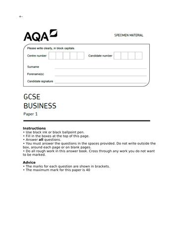 AQA GCSE (9-1) - End of topic test - Marketing