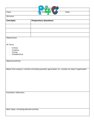 Planning template for P4C