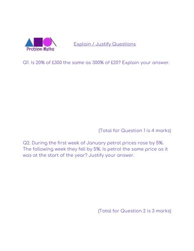 Problem Maths - Explain / Justify Questions