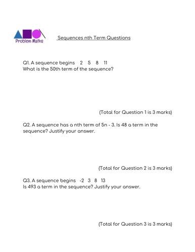 Problem Maths - Sequences nth term