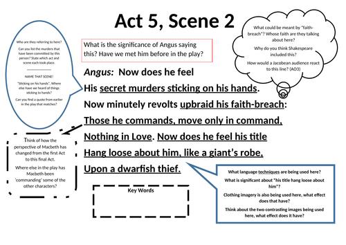 Macbeth: Act 5, scene 2 Worksheet