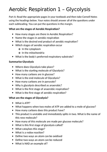 OCR A - Respiration: Glycolysis