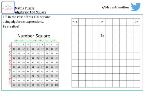 100 Square Puzzle - Algebra Problem Solving