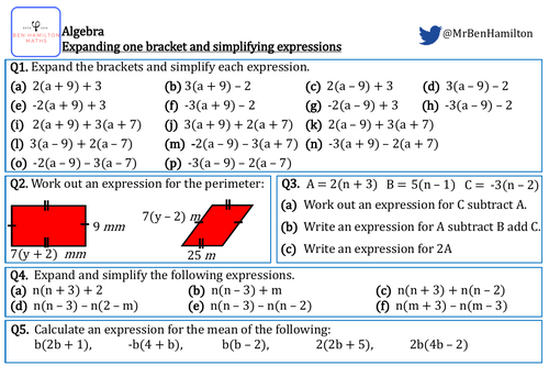 Expanding One Bracket and Simplifying Expressions - Fluency: Perimeter and BIDMAS