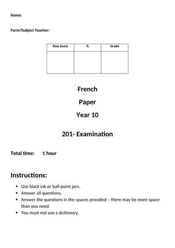 EDEXCEL IGCSE French mock written exam