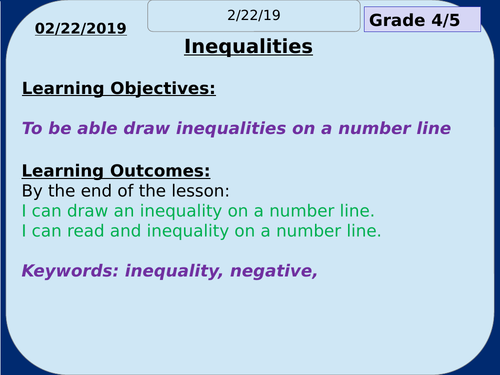 Inequalities Complete Resource