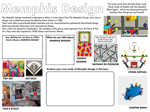 Art / Graphic Design / Technology Design Movement Worksheets