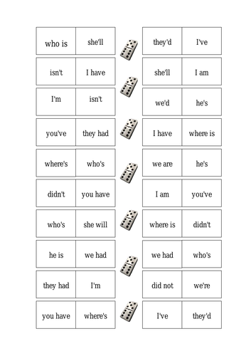 Apostrophes Dominoes Game