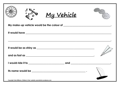 My Vehicle - invent-a-vehicle writing sheet