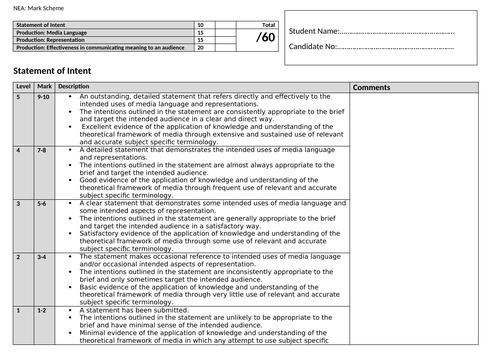 AQA GCSE NEA Mark Sheet