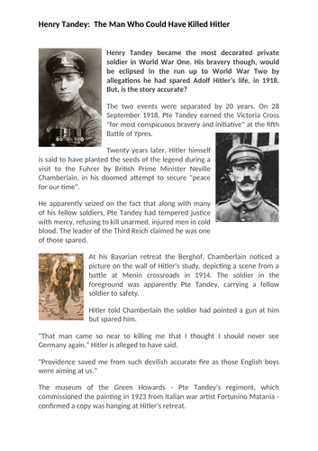 Henry Tandey - The Man Who Could Have Killed Hitler In WW1