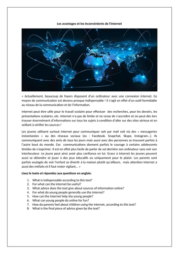 Les avantages et les inconvénients de l'internet / Advantages and disadvantages of the internet