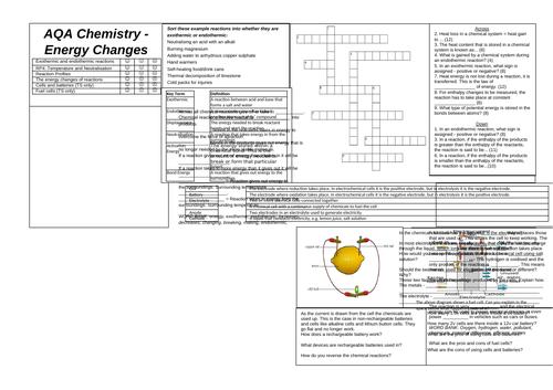 Energy Changes Revision Broadsheet (AQA Chemistry GCSE)
