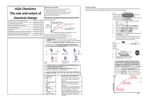 Rate and Extent of Chemical Change (AQA Chemistry GCSE)