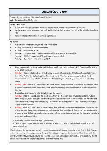 NHS - History of public health 1880's to 1948. Complete lesson walkthrough with activity answers