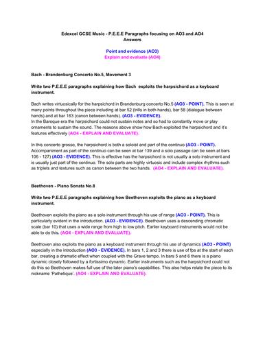 Edexcel GCSE Music - 12 mark essay - P.E.E.E paragraphs