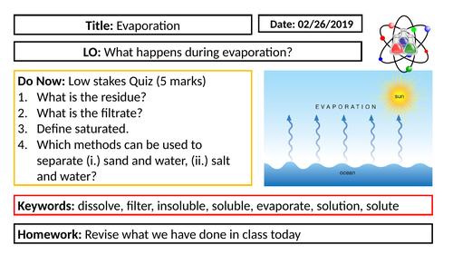 KS3 Chemistry - Evaporation