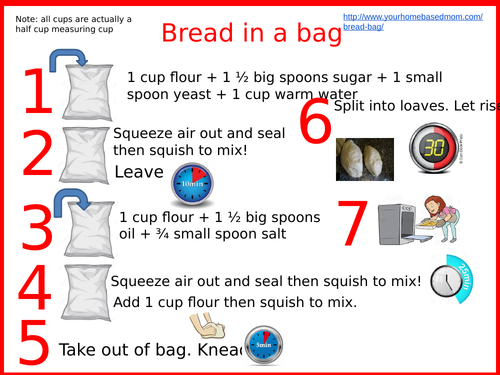 Instruction card to make bread in a bag