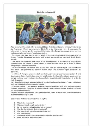 Bénévolat et citoyenneté / Volunteering / Voluntary work