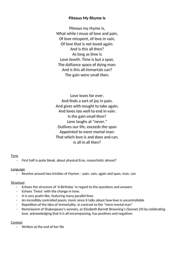 Christina Rossetti Edexcel A Level Poem Annotations