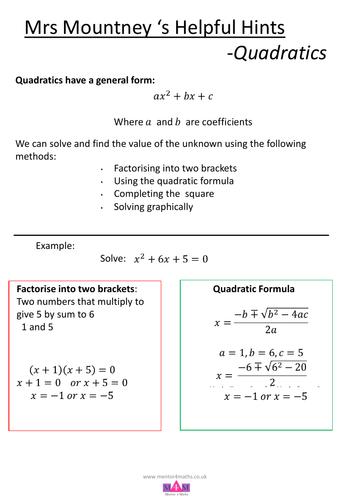 Mrs Mountney's Helpful Hints - Quadratics