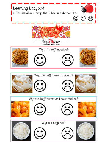 Chinese New Year - Food Tasting - Welsh 2nd Language Recording Sheet for Reception