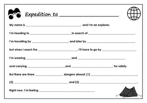 I'm an explorer... imaginary expedition notes to write - 2 levels, Y3-6