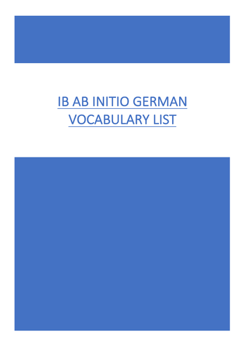 German Ab Initio Vocabulary List