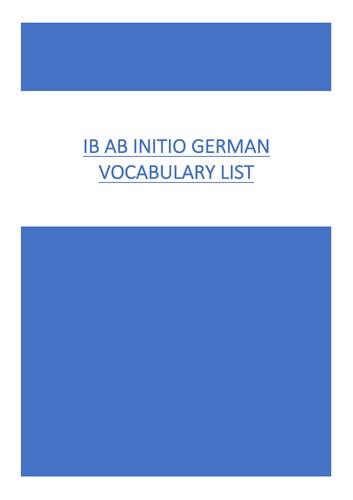 German Ab Initio Vocabulary List