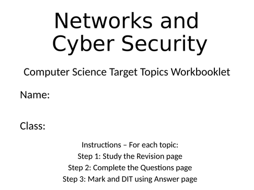 Networks and Security Target Topic Workbooklet - Mini Knowledge Organiser, Exam Questions + MS