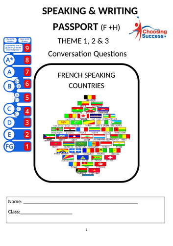 French THEME 1-2-3 Speaking & Writing Questions Booklet
