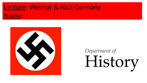 Weimar & Nazi Germany Lecture GCSE/A-Level