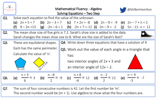 Solving Two Step Equations - Fluency: Perimeter, Mean and Angles.
