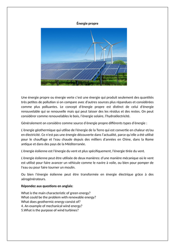 Énergie propre / L'environnement / Clean energy / Renewable energy / Environment