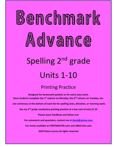 Benchmark Advance Spelling 2nd Grade Units 1-10  California lists