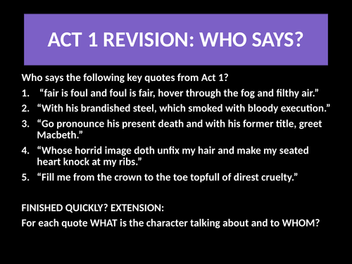 Macbeth Act 2 Scene 1 Lessons