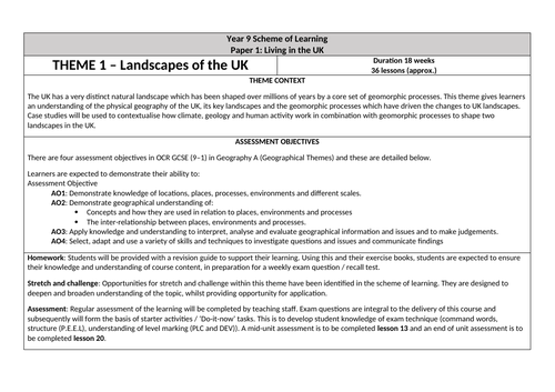 OCR GCSE Landscapes of the UK Scheme of Learning