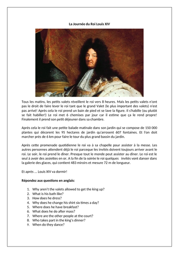 La Journée du Roi Louis XIV / Daily Routine of King Louis XIV / French histor