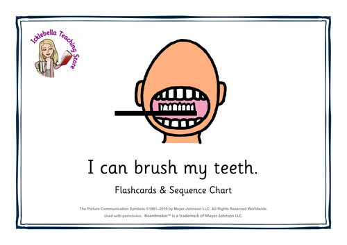 brushing teeth visual support flashcards & sequence chart